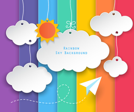 paper clouds, sun hanging and planes flying on rainbow sky background.