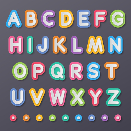 colorful paper capital alphabet letters a to z fonts.