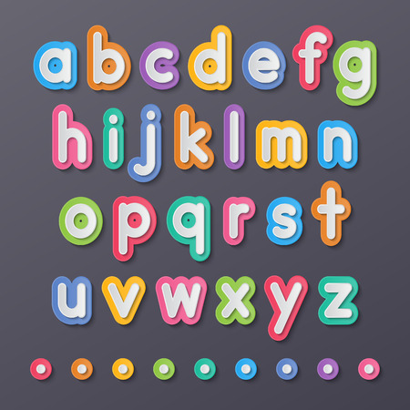 colorful paper small alphabet letters a to z fonts.