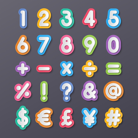 assign: colorful paper alphabet numbers and symbols.