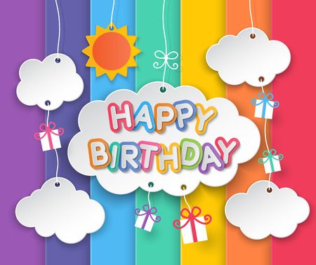Happy birthday paper clouds, sun and gift boxes hanging on rainbow sky background. Иллюстрация