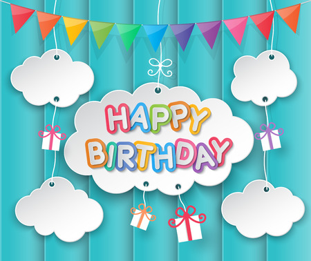Happy birthday paper clouds, sun and party flags hanging sky background.
