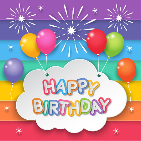 Happy birthday paper clouds hanging with balloons on fireworks and rainbow sky background. Illustration