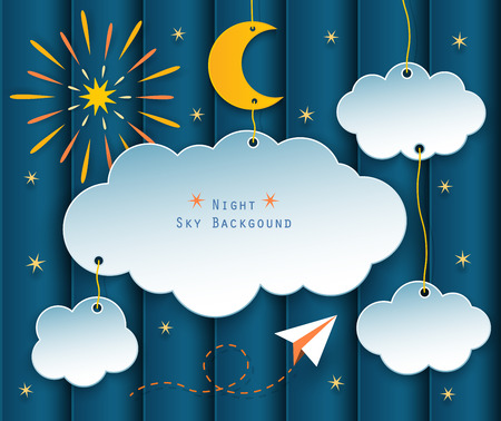 blue star background: paper clouds, moon, stars, fireworks and plane flying on night scene background.