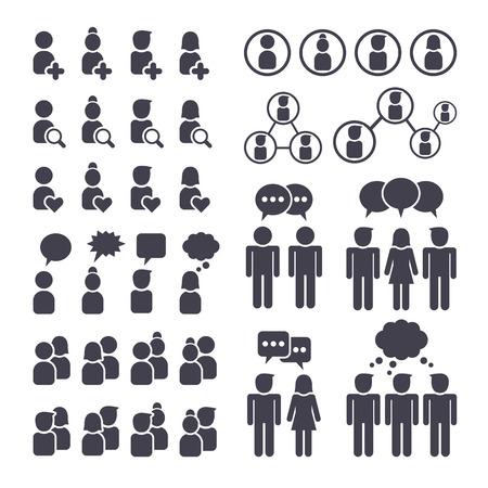 Sociaal netwerk mensen verbinding, man en vrouw zwarte pictogrammen instellen Stock Illustratie