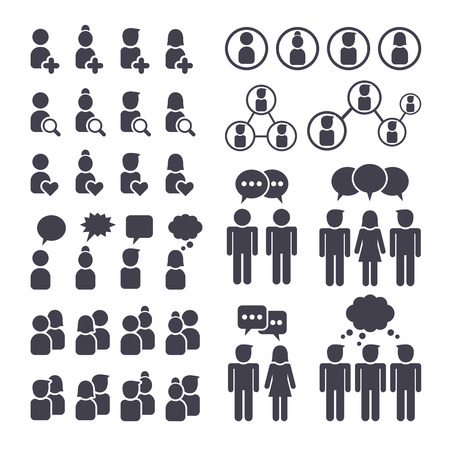 group cooperation: Social network people connection, man and woman black icons set