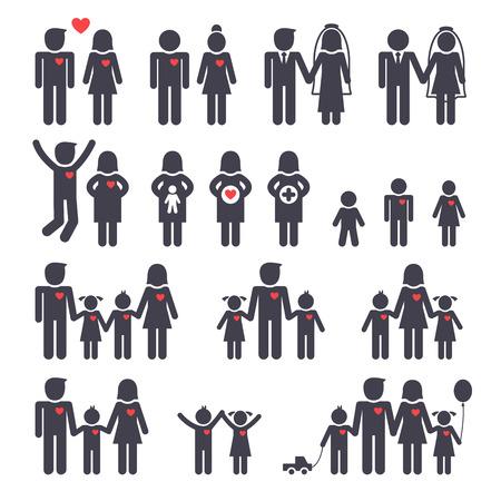 Mamá papá niño y una niña, iconos negros de la familia felices fijó
