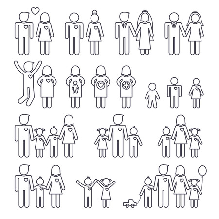 girl happy: Mom dad boy and girl, happy family, thin line icons set