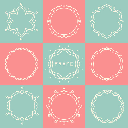 set of abstract flower decorative logo frames and badges in flat thin line style Illustration