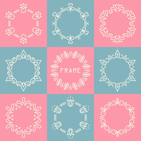 set of abstract flower decorative logo frames and badges in flat thin line style Ilustração