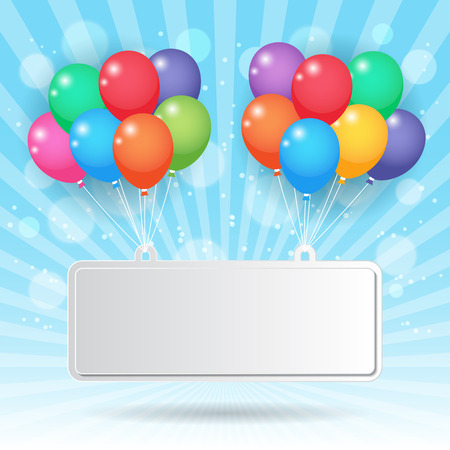 Event: colorful party balloons hanging with blank paper sign on blue sky background