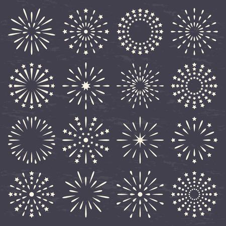 fireworks, starburst, sunburst, sunrays collection set on dark background.