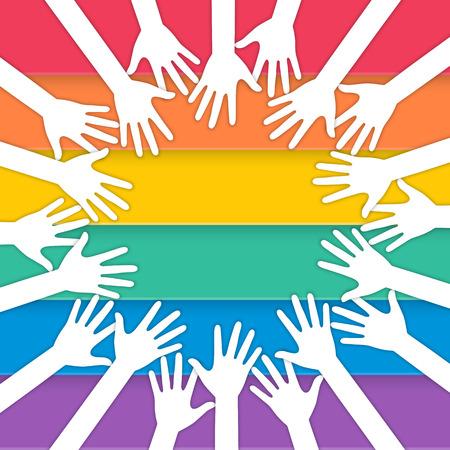 manos juntas: las manos se unen con los colores del arco iris de la bandera del orgullo