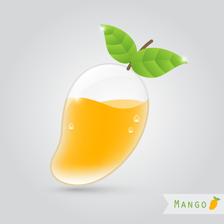 mango leaf: mango juice in a mango shaped glass with leafs