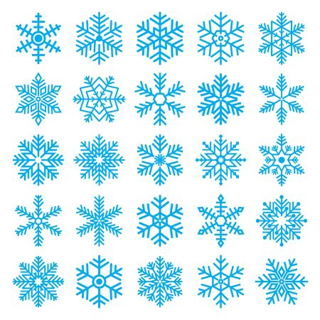 chirstmas: blue chirstmas snowflakes decorative set on white background