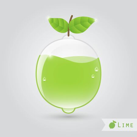 lime juice: lime juice in a lime shaped glass with leafs Illustration