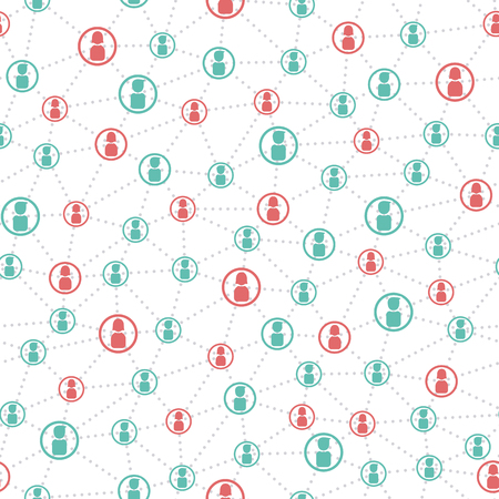 business network: connected people and social network seamless pattern Illustration