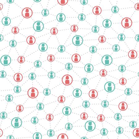 diagrama: personas conectadas y modelo inconsútil de red social