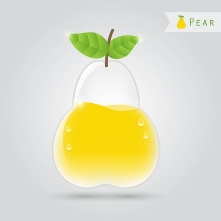 pear shaped: pear juice in a pear shaped glass with leafs