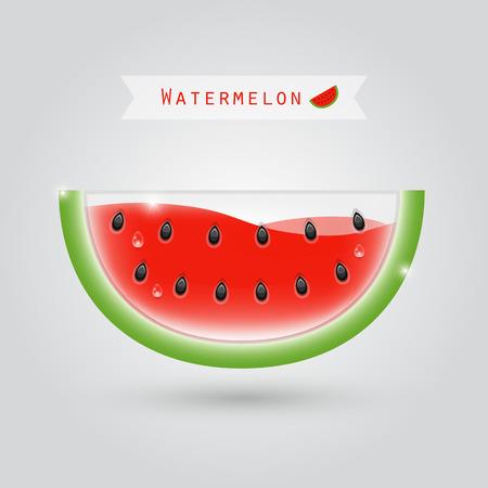 tropical drink: watermelon juice in a half watermelon shaped glass