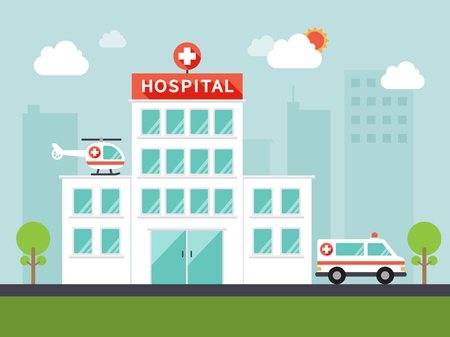 hospital cartoon: City hospital building with ambulance and helicopter in flat design. Illustration