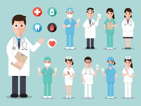 lekarz: lekarze i pielęgniarki i personel medyczny płaska zestaw ikon