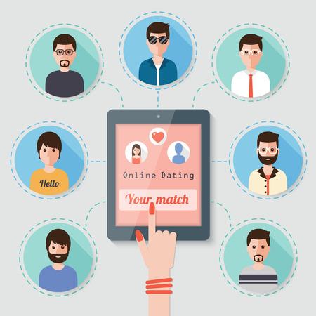 woman seeking man on online dating website via  social network Illustration