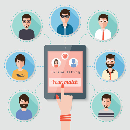 dating: woman seeking man on online dating website via  social network Illustration