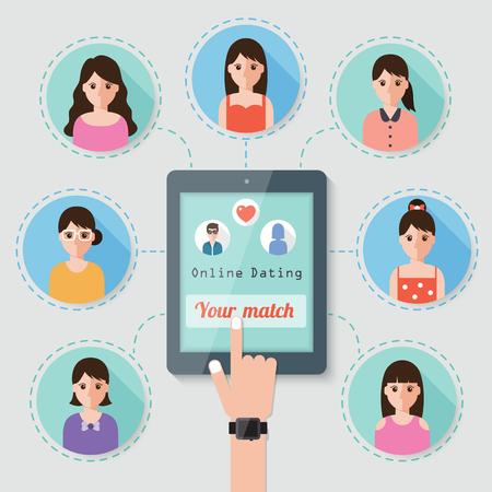 interaccion social: chico busca chica en el sitio web de citas en línea a través de red social Vectores