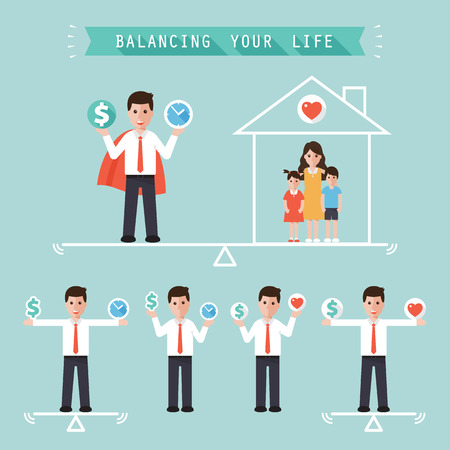 balance life: businessman holding money dollar sign and time balancing with family at home. idea balance your life business concept in modern flat style.