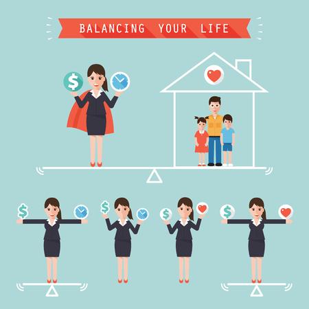 стиль жизни: деловая женщина, держащая знак доллара и деньги времени балансировки с семьей дома. Идея сбалансировать свой бизнес-концепцию жизни в современном плоском стиле.
