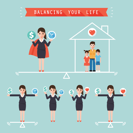 balance life: business woman holding money dollar sign and time balancing with family at home. idea balance your life business concept in modern flat style.