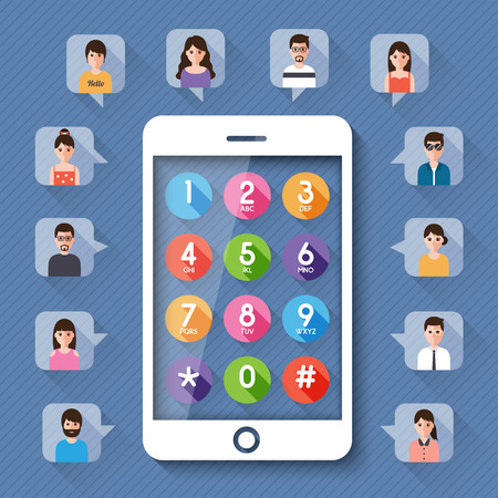 networking people: connecting people by dial number on smartphone social network concept. Illustration