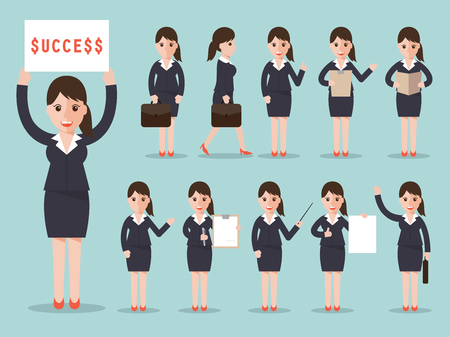 business woman characters set in flat design style