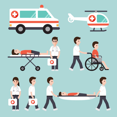 emergency: doctors, nurses, paramedics and medical staffs flat design icon set Illustration