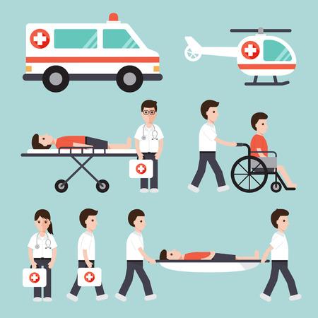 paciente en camilla: médicos, enfermeras, paramédicos y personal médico diseño plano conjunto de iconos