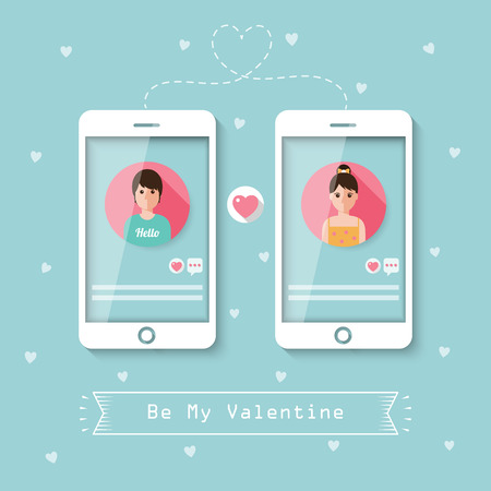 chat online: man and woman romantic chatting online on social network with smartphone.