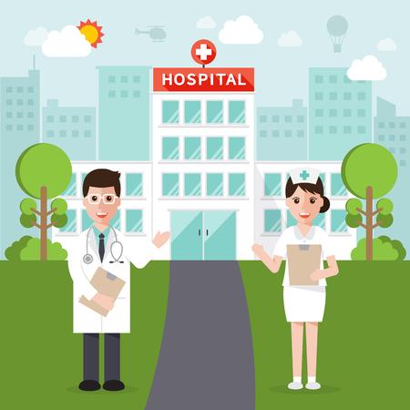 医師と看護師とフラットなデザインで都市背景の病院
