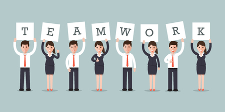 young group: businessmen and businesswomen holding teamwork signs in flat design style