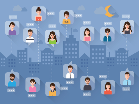 talking cartoon: connecting people via social network on night scene background in flat design.