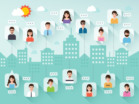 talking cartoon: connecting people via social network on city scene background in flat design.