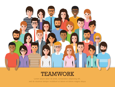 diversity: Group of people at work with teamwork banner on white background. Flat design characters.