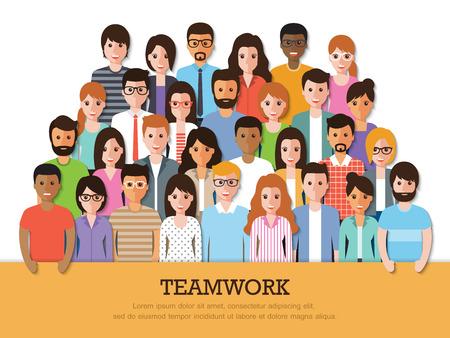 sociedade: Grupo de pessoas no trabalho com a bandeira trabalho de equipa no fundo branco. caracteres design plano.
