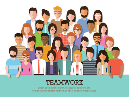 Group of people at work with teamwork banner on white background. Flat design characters.