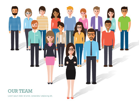 female boss: Group of people at work on white background. Flat design characters. Illustration