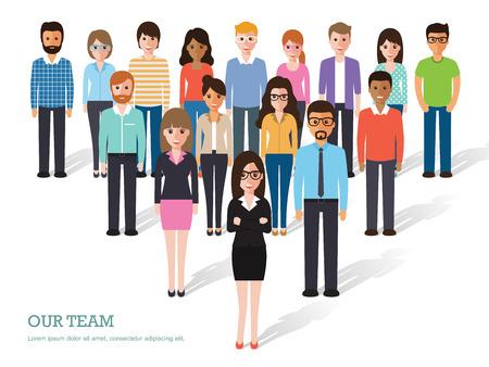 Skupina lidí při práci na bílém pozadí. designové znaky ploché.
