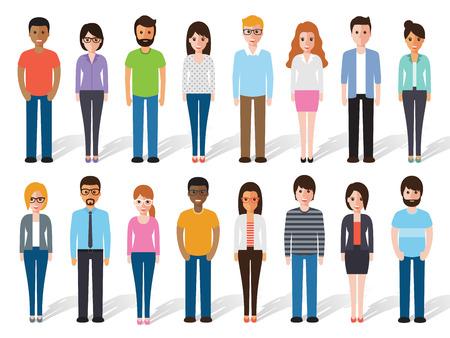 grupos de personas: un conjunto de personas que trabajan de pie sobre fondo blanco. caracteres diseño plano.