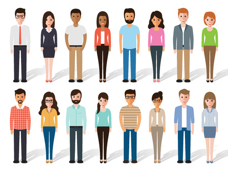 set of working people standing on white background. Flat design characters. Vettoriali