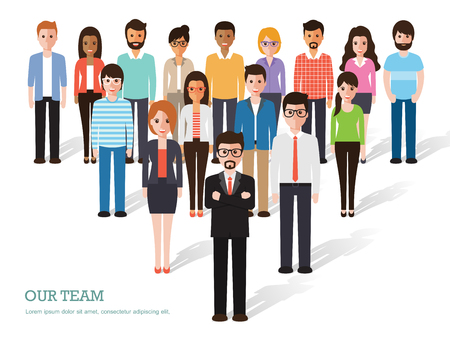 affari: Gruppo di persone al lavoro su sfondo bianco. caratteri design piatto.