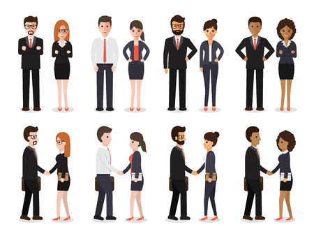 Group of people at work with handshaking on white background. Flat design characters. Ilustração